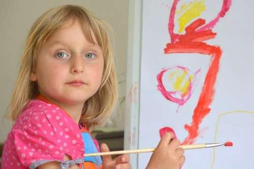 Girl Child People Painting Brush