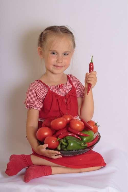 Girl Child Vegetables Smile Agriculture Natural
