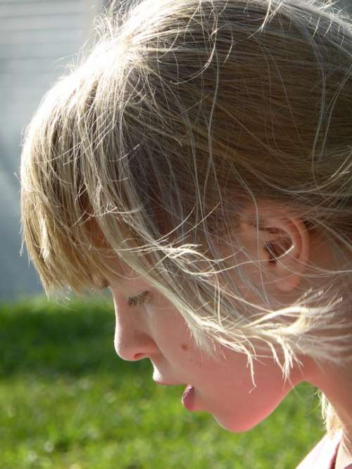 Girl Wind Blond Hair Side Profile Ear Mouth Lips