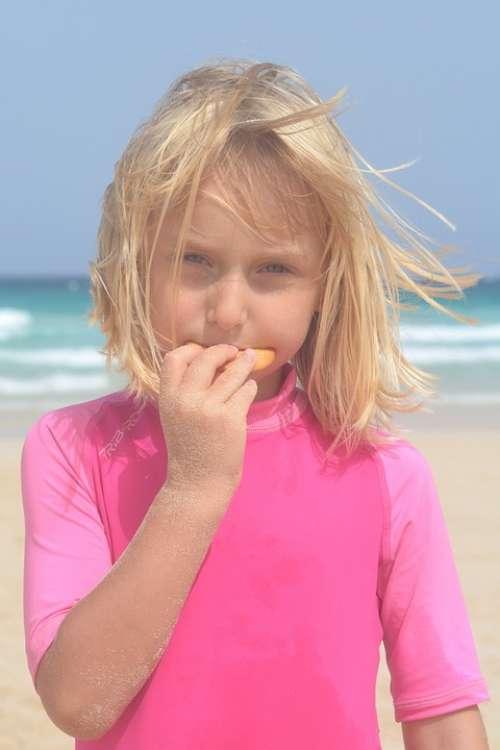 Girl Food Child People Sea