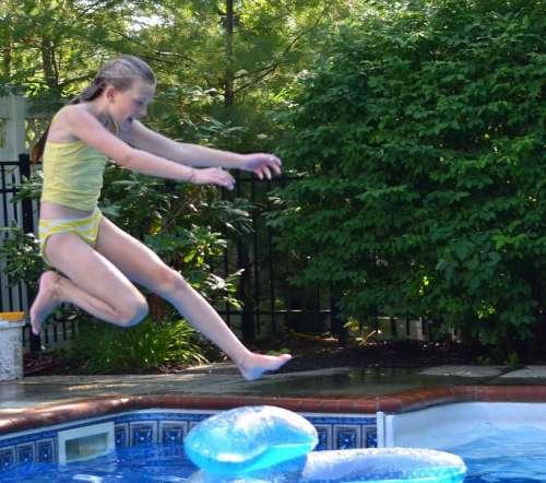 Girl Swimming Pool Jump Child Pool Swim Water