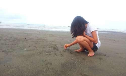 Girl Sea Beach Sand Summer Seascape Nature Water