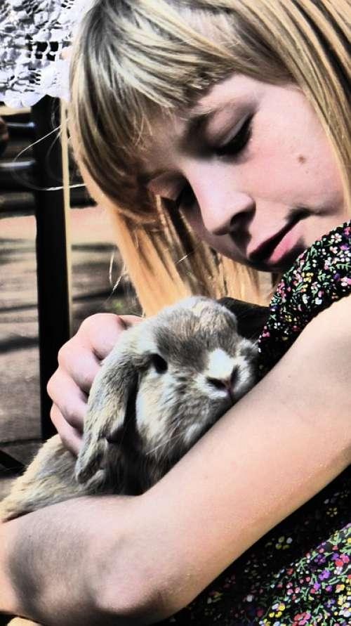 Girl Rabbit Stroke Animal Pet Love Snuggle