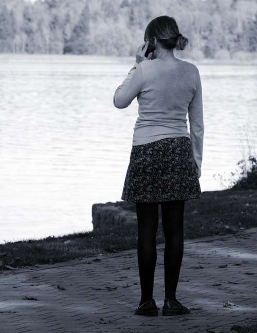 Girl Individually Alone Woman Lonely Wait Call