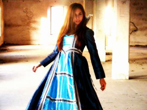 Girl Princess Story Dress Blue Palace Prom