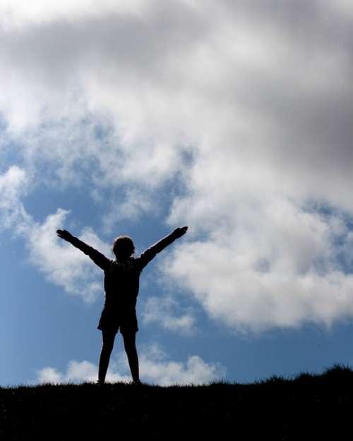 Girl Freedom Sky Happy Human Pray Outdoors