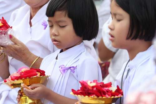 Girls Buddhists Monk Rose Petals Tradition