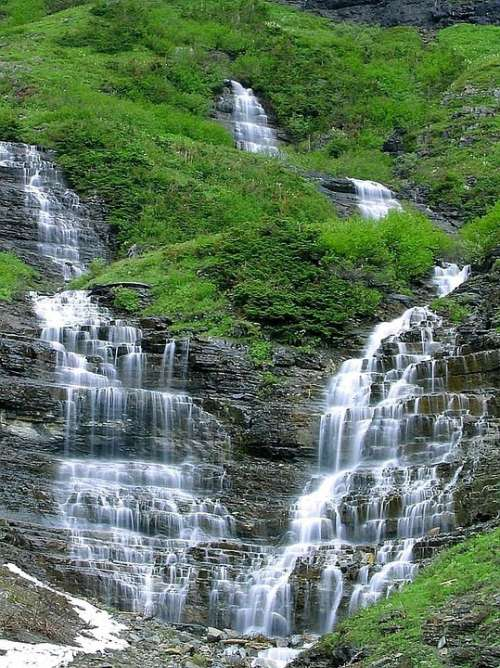Glacier Falls Waterfalls Landscapes Nature