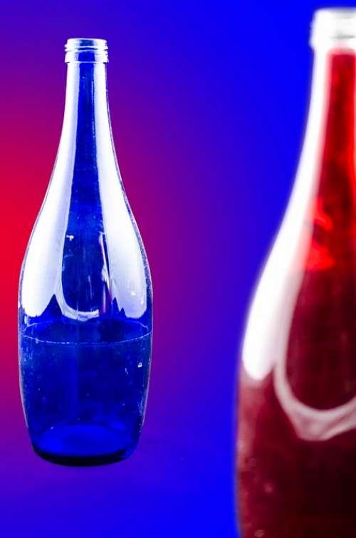 Glass Blue Red Color Glass Bottles Bottle