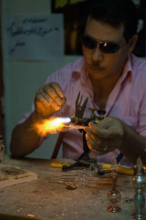 Glass Fabrication Flame Burning Egyptian Man