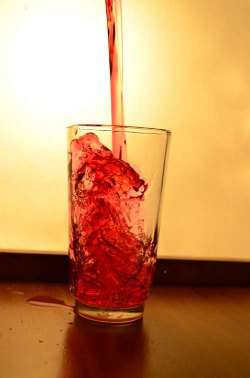 Glass Liquid Red Pouring Alcohol Drink Beverage
