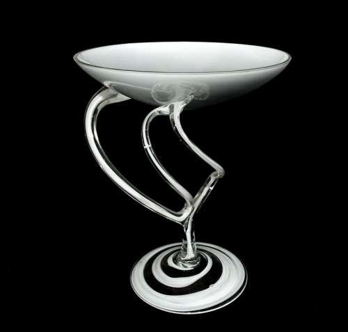 Glass Bowl Decoration Artfully Swinging White
