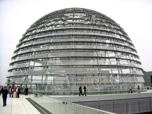 Glass Dome Reichstag Dome Glass Reflection Berlin