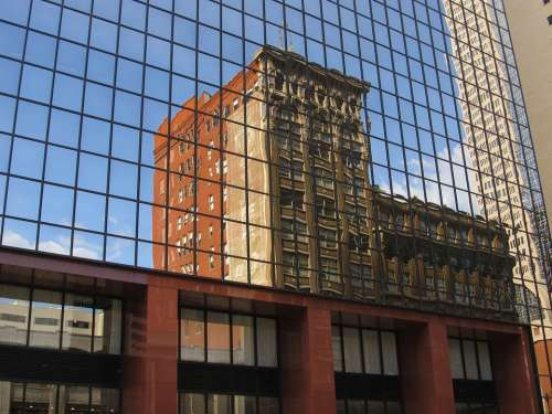 Glass Facade Windows Reflection Pattern Geometric