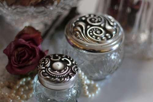 Glass Jars Jars Jewelry Silver Vintage