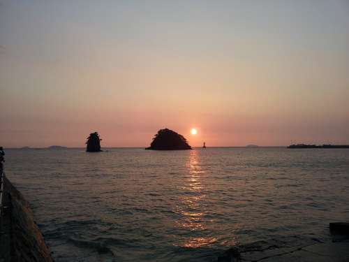 Glow Sea Sunset Republic Of Korea