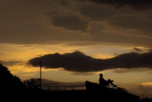 Glow Man Sky Sunset Silhouette Cloud