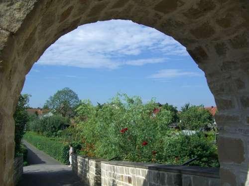 Goal City Wall Archway Garden Sky Blue