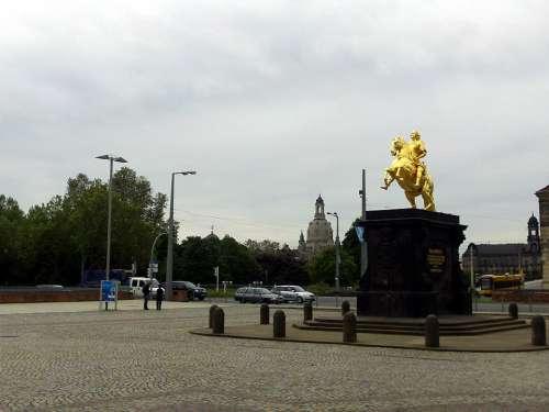 Golden Rider Dresden Historically Frauenkirche