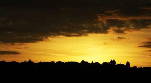 Golden Sunset Beautiful Sky Clouds Golden Rest