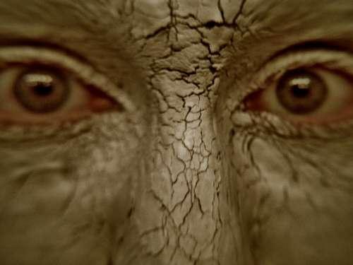 Golem Clay Fx Makeup Brown Mud Eyes Face Staring