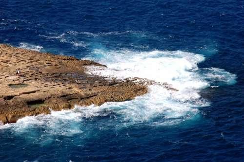 Gozo Malta Sea Coast Rocky Coast Surf Water Blue