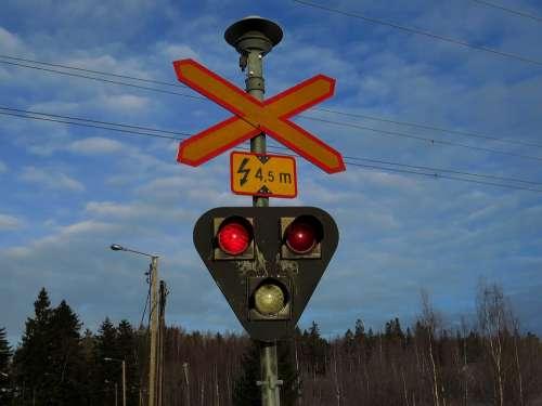 Grade Crossing Light Red Road Sign
