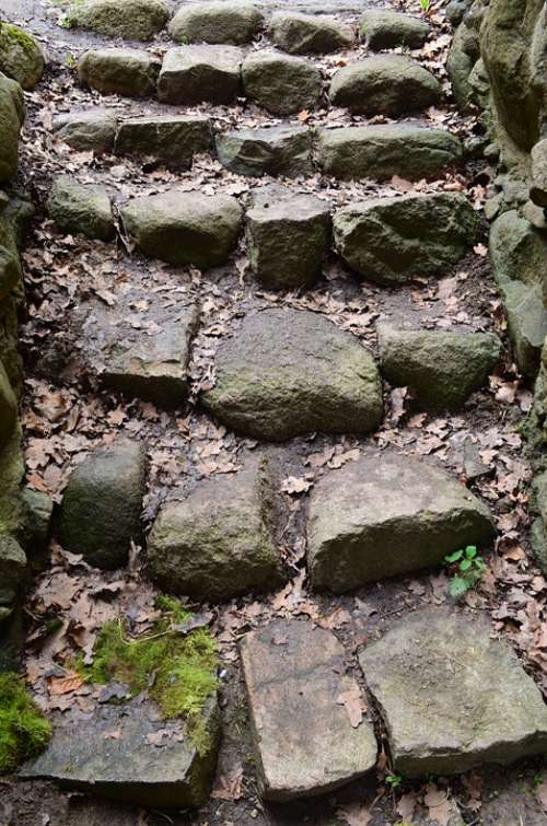 Gradually Stairs Stones Old Castle Middle Ages