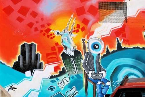 Graffiti Hauswand Wall Painting Colorful Creative