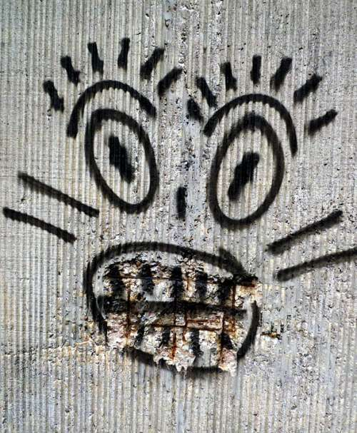 Graffiti Painted Street Art Worried Black And White