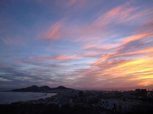 Gran Canaria Sky Dawn Panorama City Peninsula