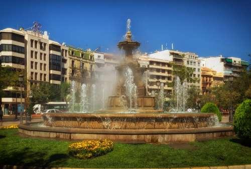 Granada Fountain Spain City Cities Urban Water