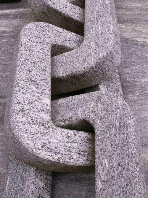 Granite Chain Stone Grey Art Sculpture Monument