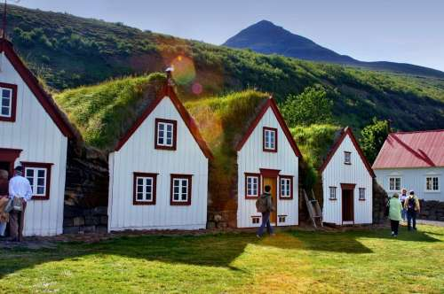 Grass Roofs Iceland Houses Residential Structure