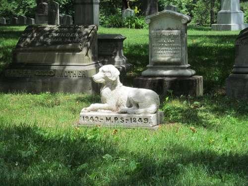 Graveyard Grave Cemetery Pet Statue Tombstone