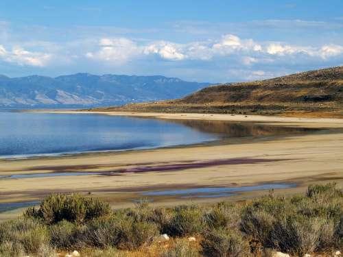 Great Salt Lake Utah Usa Water Landscape Nature