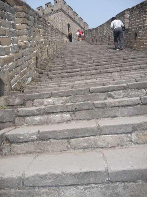 Great Wall Of China Stairs Steps Upwards China