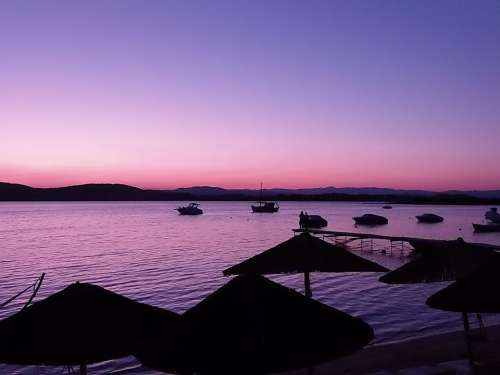 Greece Sunset Vacation Nature Sea Pink Blue
