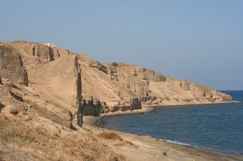 Greece Santorini Cyclades The Coast Landscapes Sea