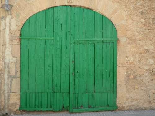 Green Door Goal Hinged Door Old Input Building