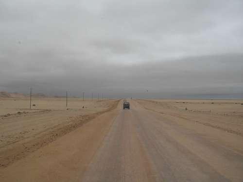 Grey Sky Salt Road Lone Vehicle Earthy Colors Veld