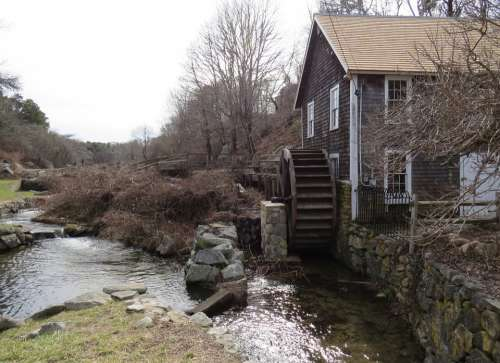 Grist Mill Water Wheel Countryside Rural Barn