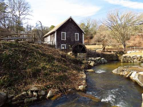Grist Mill Water Wheel Countryside Brewster
