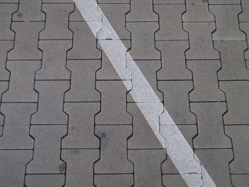 Ground Parking Lines Cobblestones Diagonal Oblique