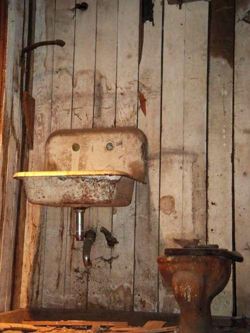 Grunge Toilet Sink Water Washing Basin Old