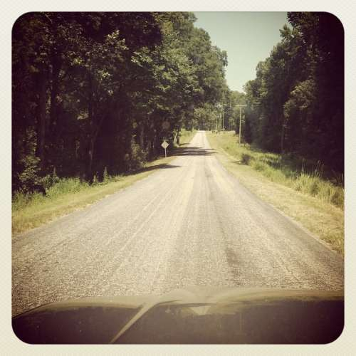 Grunge Country Road Rural View Countryside Summer