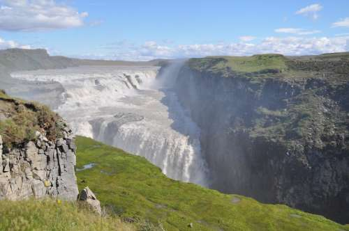 Gullfoss Iceland Waterfall Nature Landscape