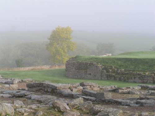 Hadrian'S Wall Mist Atmospheric Roman Fort