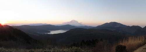 Hakone Japan Lake Mountains Mount Fuji Sunset