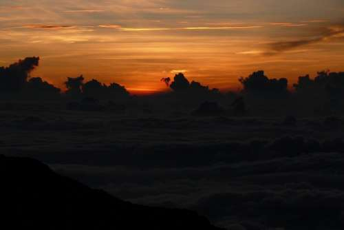 Haleakala Hawaii Sunset Clouds Sky